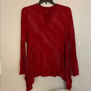 Red Long Sleeve Glitter Top